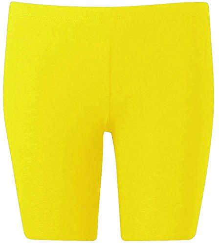 New Womens Plus Size Over Knee Plain Jersey Cycling Shorts ( Yellow, 1X )