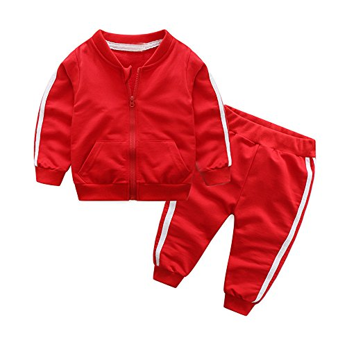 Moyikiss Studio Unisex Tracksuit Baby Boys Girls Clothes Cotton Long Sleeve Zipper Sweatshirt Jacket and Pants (Red, 70/0-9Months)
