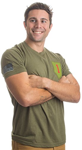 1st Infantry Division & Sleeve Flag | Military US Army 1ID Big Red One T-Shirt-(OD Green,XL) price tips cheap