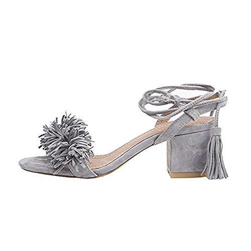 - Comfity Block Heels for Women Women's Lace Up Sandals Fringed Tassel Shoes Ankle Ties Dress Sandals 6 M US Grey