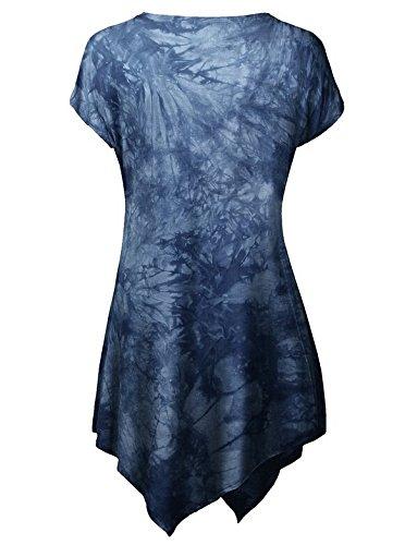LemonGirl Women's Round Neck Short Sleeve Tunic Blouse T-Shirt Tops DeepBlue