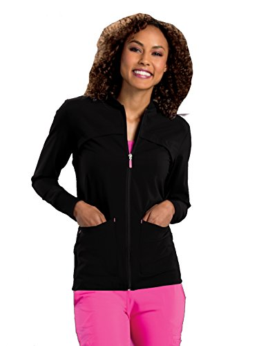 Smitten Miracle Women's Contemporary Fit Tour Zip-Front with Rib Detail Scrub Jacket Black (Tour Zip Jacket)