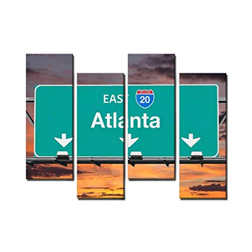 4 Panel Atlanta Interstate 20 East Highway Sign with Sunrise Sky atlantas Canvas Wall Art Ocean Oil Painting Animal Prints City Poster Flower Pictures Home Wall Decoration for Artwork (Atlanta Sign Highway)
