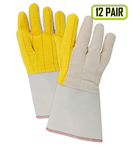 MAGID 64G MultiMaster Cotton/Poly Double Palm Canvas Chore Glove with Knit Wrist Cuff, Work, Men Size, Golden Fleece (12 Pair) ()