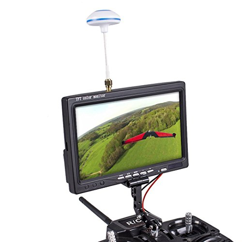 SunFounder FPV TFT LCD Color Monitor 800x480 7 Inch Wireless Receiving 5.8G 48CH AV1/AV2 Multiple OSD Languages for RC Quadcopter(Bracket Not Included)