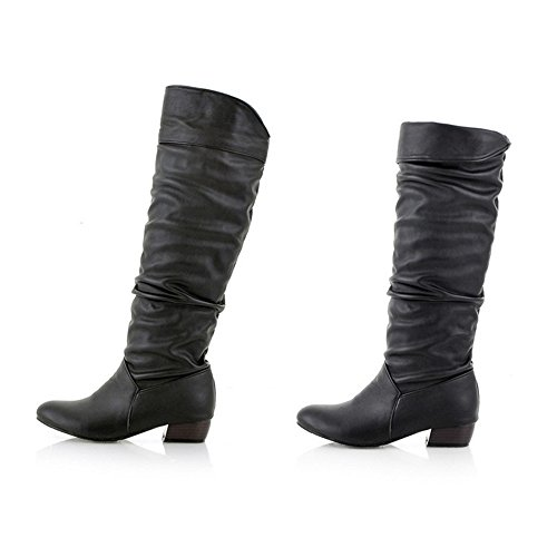 Women's Winter Knee High Boots, High Tube Flat Heels Riding Motorcycle Leather Boots -Sunsee Grill New