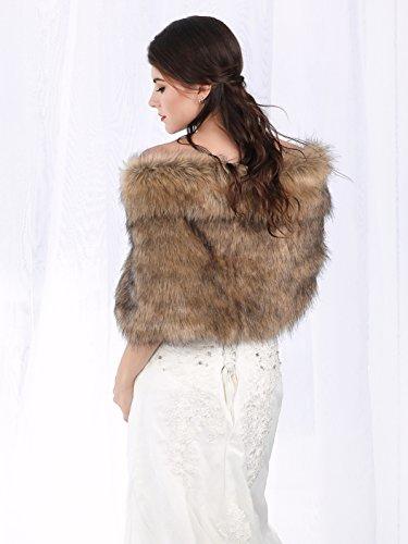 Jovono Women's Wedding Bridal Fur Shawl Wrap for Women and girls (Brown)
