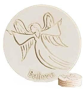 Super Absorbent Stoneware Drink Coasters - Believe Angel - Set of 4
