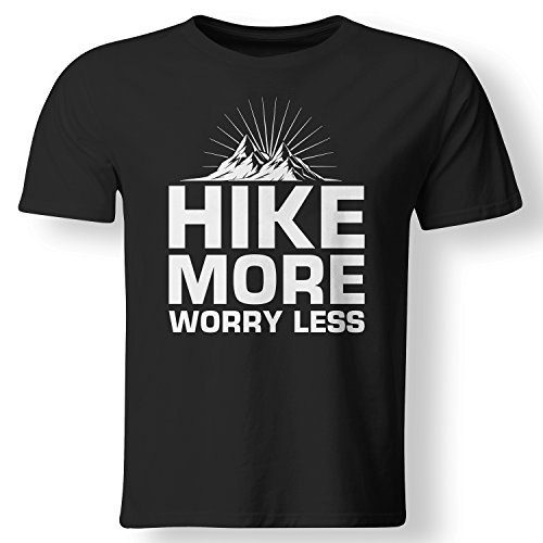 Hike More Worry Less Outdoors Mountain T Shirt Mens Black XXX-Large (Mountains Less T-shirt)