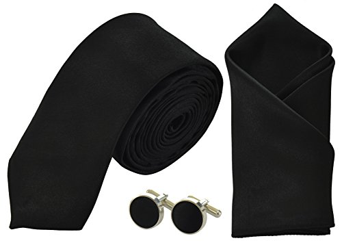 Handkerchief Mens Pocket Ties Skinny Square and Cufflinks Black Matching Sets PR7Rw0xqBr