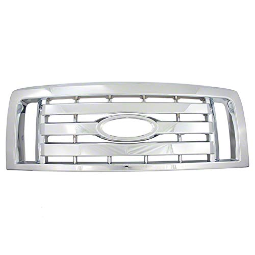 OxGord Front Grille Insert Overlay Trim for 2009-2012 Ford F150 - Chrome Snap On Billet Style - Car, Truck, SUV, Van & Jeep Replacement Accessories