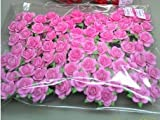 100 pcs Mini Rose Pink Color Mulberry Paper Flower of Scrap booking Wedding Doll House Supplies Card : Size 15 - 20 mm By Taweekoon