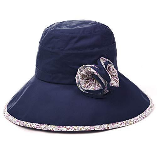 f3c8cf0f42644 SIGGI Bucket Boonie Cord Fishing Beach Cap Summer Sun Hat Wide Brim for  Women UPF50+ Navy ¡