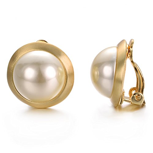 Yoursfs Ivory Pearl Clip on Earrings For Women Round Button Earrings 18K Yellow Gold Plated Non Pierced Earrings