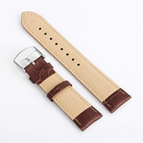 Leather Watch Strap 18mm 20mm Black Brown Replacement Bracelet Wristband with Stainless Mental Buckle by BONSTRAP (Image #2)