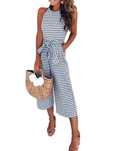 n Striped Waist Belted Wide Leg Jumpsuit M Blue ()
