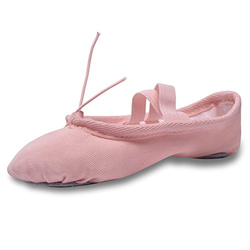 Flats Classic Ballet (YYXR Women Ladies Girls Kids Classic Canvas Split-sole Ballet Slippers Dance Gymnastics Yoga Shoes Flats (11 M US Little Kid, Pink))