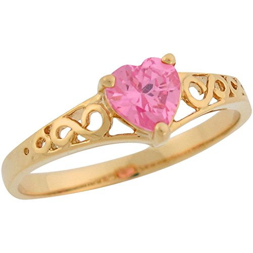 14k Yellow Gold Heart Shape Pink CZ Simulated October Birthstone Filigree Ring