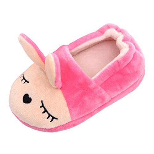 Beeliss Toddler Girls Slippers Cartoon Plush Warm Shoes (5-6 M US Toddler, Pink)