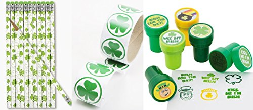 St Patricks day SHAMROCK Favors - 12 Pencils 12 Stampers and 1 roll of 100 Stickers - Class Pack- party favors and prizes