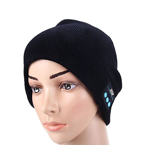 Price comparison product image Bluetooth Beanie Hat for Men Women, Winter Washable Double Knit Music Cap, Wireless Stereo Headphone Headset Earphone with Speaker Mic, Handsfree for Running Hiking Skiing Fishing, Black