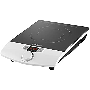Gourmia GIC-100 Multifunction Portable 1800W Induction Cooker Cooktop Countertop Burner with SmartSense Auto Detection, Timer, Temperature and 8 Power Level Controls, White