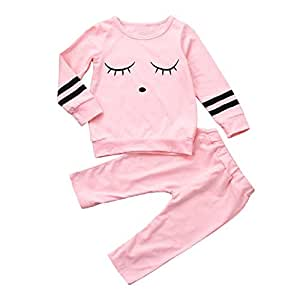 Baby Clothes Set, PPBUY Toddler Girls Eyes Printed Tops + Pants 2Pcs Outfit Set (24M, Pink)