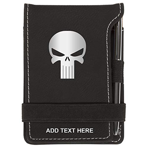 (Personalized Mini Notepad Holder Set - Pocket Memo Pad Jotter Notebook Case - Includes Mini Note Pad & Pen to Jot Notes and Writing To Do List - Punisher Skull, Black & Silver)