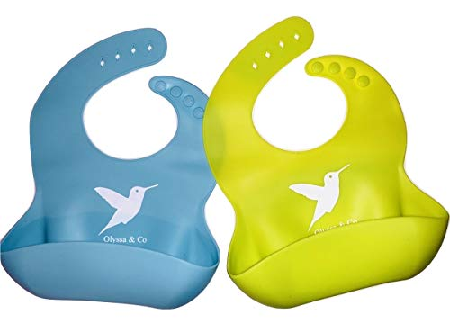 Waterproof Silicone Bib Easily Wipes Clean! Comfortable Soft Baby Bibs Keep Stains Off! Spend Less Time Cleaning, Set of 2 Colors (Lime Green/Turquoise)