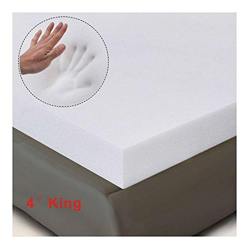 """4"""" King Size Memory Foam Mattress Pad, Bed Topper 80""""x76""""x4"""" New from Unknown"""