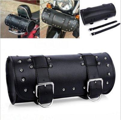 Dlll universale nero moto strumento di forma tonda in pelle PU lato anteriore bag borsa per Harley Cruiser Choppers Honda Kawasaki Suzuki Yamaha ATV Scooter