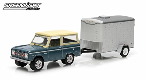 1967 Ford Bronco Blue & Small Cargo Trailer Hitch & Tow Series 2 1/64 by Greenlight 32020B