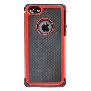CL - Caso duro impacto resistente del hybird con silicona interior de la contraportada para 5/5s (colores opcionales) iphone , Rojo