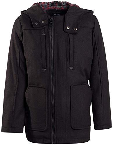 Urban Republic Boys Wool Officer Jacket with Hood (10/12, Black-Plaid)