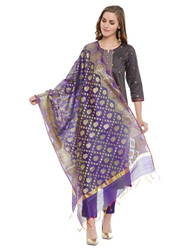 PINKSHINK Women's Ready to Wear Grey and Purple Cotton Indian/Pakistani Salwar Kameez with Banarasi Silk Dupatta, - Churidar Suit