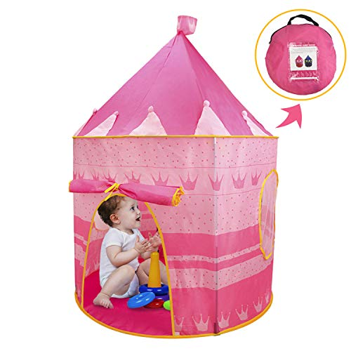 Haoxin Girls Princess Castle Play Tent Upgrade Pop Up Pink Play Tent-Indoor and Outdoor use-Easy to Install and disassemble-190T Polyester with a Carrying Bag