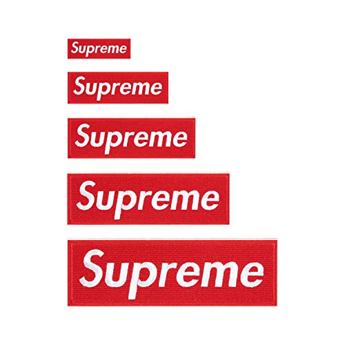 Iron on Supreme Patches 5 Pack Red & White Supreme Patches Sew on Multi-Size Patch Embroidered DIY Applique Badge Decorative