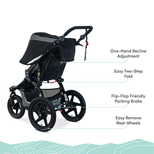 41thwEQIoQL - BOB Gear Revolution Flex 3.0 Jogging Stroller | Smooth Ride Suspension + Easy Fold + Adjustable Handlebar, Graphite Black [New Logo]