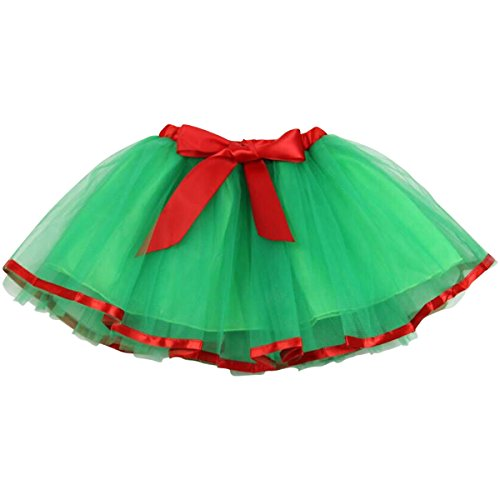 Jastore Baby Girls Layered Christmas Green Tutu Skirt Dance Princess Ballet Dress - Kids Christmas Dance Costumes