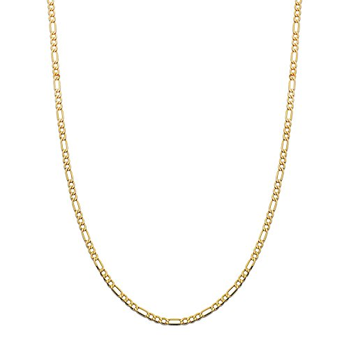 LOVEBLING 10K Yellow Gold 3.5mm Figaro Chain Necklace (22 inch)