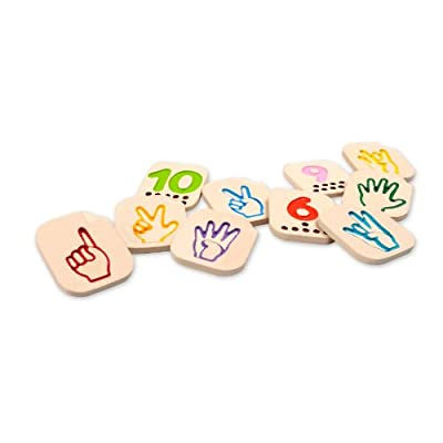 PlanToys Wooden Hand Sign Tiles with Numbers 1 - 10 to Help Learn Sign Language (5655) | Sustainably Made from Rubberwood and Non-Toxic Paints and Dyes | Eco-Friendly PlanWood: Toys & Games