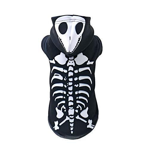 Halloween Skeleton Sweater (PAWZ Road Realistic 3D Digital Print Dog Hoodie, Pet Pullover Hooded Sweatshirt Hoodies for Small Medium Large)