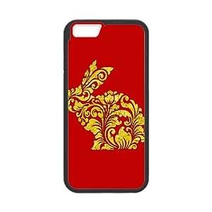 iPhone 6 Plus 5.5 Inch Cell Phone Case Black Rabbit Ornate Vintage Pattern Decoration 1 L6C8K