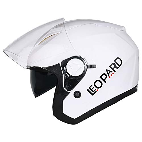 Leopard LEO-608 Double Sun Visor Open Face Motorbike Motorcycle Helmet Road Legal White M 57-58cm