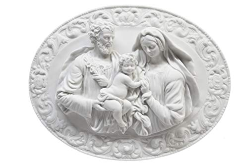 Holy Family Joseph Baby Jesus Mary Madonna Wall Plaque Plate Catholic Statue by Vittoria Collection Made in Italy