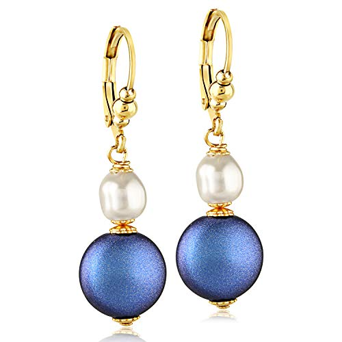 Girls Swarovski White/Blue Pearl Drop Earrings - 24K Gold Coated Stainless Steel
