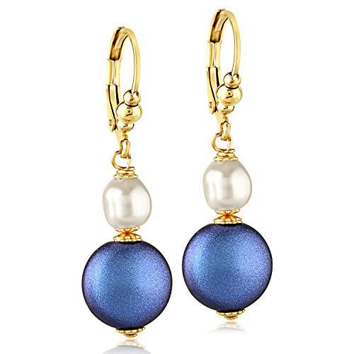 (Girls Swarovski White/Blue Pearl Drop Earrings - 24K Gold Coated Stainless Steel)