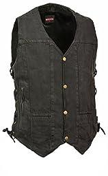 Milwaukee- Men\'s 10 Pocket Side Lace Denim Vest (Black, 6X)