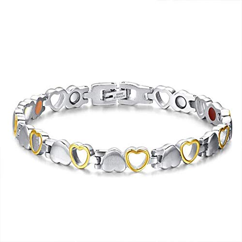Mei Yun Fashion Titanium Stainless Steel Magnetic Therapy Bracelet Pain Relief for Arthritis and Carpal Tunnel (Sliver Golden)