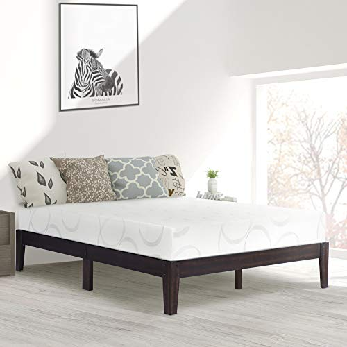 PrimaSleep 14 Inch Solid Wood Platform Bed Frame/Anti-Slip Support/No Box Spring Needed/Easy to Set Up,King,Dark ()
